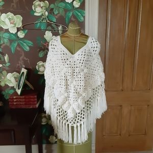 Vintage Crocheted Poncho with Long Tassels